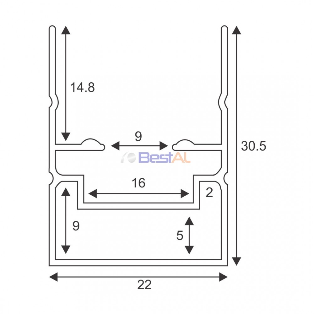 Profil Perimetral pentru Plasa Plisee Plase Insecte Tip Plisee PPL  XX Bestal